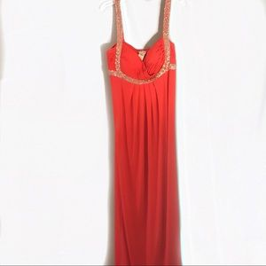 Cache Coral Beaded Draped Prom Formal Dress